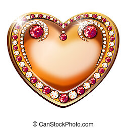 inlaid golden heart with shining diamonds and rubies