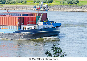 Inland container ship on the Rhine