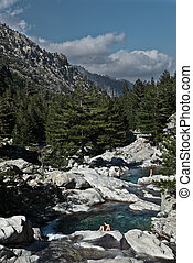 Inland Corsica, splendid Restonica Valley - with natural pools on the river and exquisite mountains