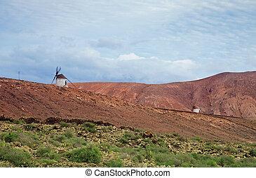 Inland Fuerteventura, windmills between Villaverde and La...
