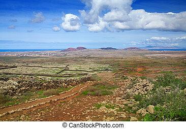 Inland Fuerteventura, view towards Lajares from the Malpais...