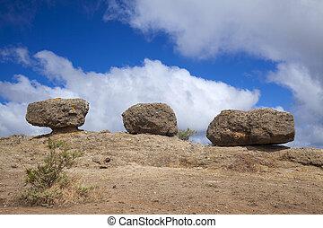 Inland Gran Canaria, April, Las Tres Piedras, three eroded...