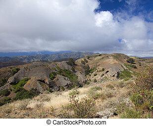Inland Gran Canaria, April, soft eroded mountain Montana de...