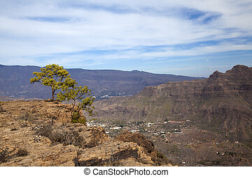Inland Gran Canaria, sunny day in December, view over...