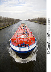 Inland navigation on the Amsterdam-Rijn canal in the...