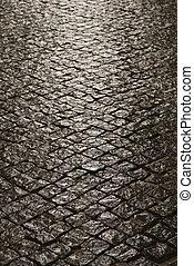 inlayed, pietra, strada.