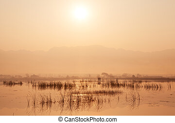 Inle lake at sunrise. Myanmar.