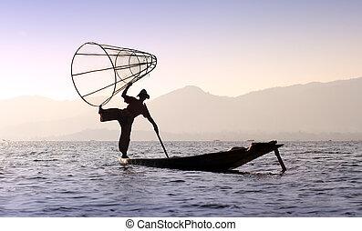 Inle lake traditional fisherman