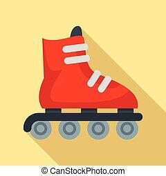 Inline skates icon, flat style