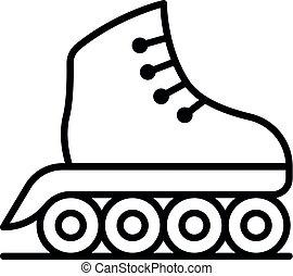 Inline skates icon, outline style - Inline skates icon....