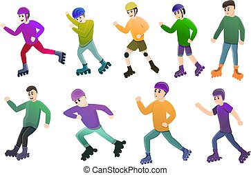 Inline skates icons set, cartoon style