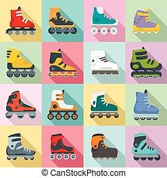 Inline skates icons set, flat style