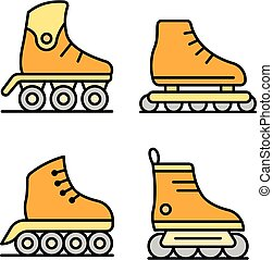 Inline skates icons set vector flat