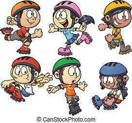 Inline skating kids. Vector cartoon clip art illustration ...