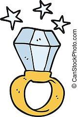 inmenso, anillo, compromiso, caricatura