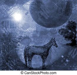 inmenso, caballo, noche, luna,  2