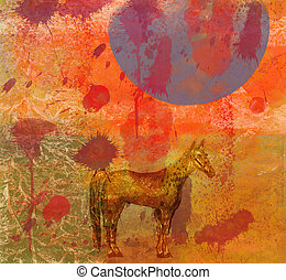inmenso, caballo, noche, luna,  4
