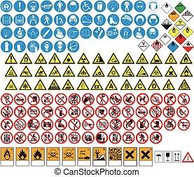 inmenso, colección, de, peligro, señales