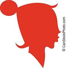 inmenso, color, ilustración, pelo, vector, bollo, niña, o
