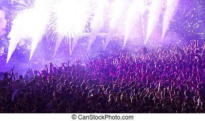 inmenso, concierto, multitud, aplausos