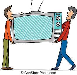 inmenso, conjunto, televisión, /, mudanza, trabajo en equipo