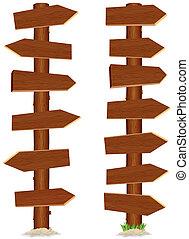 inmenso, de madera, signo., ilustración, vector, alto