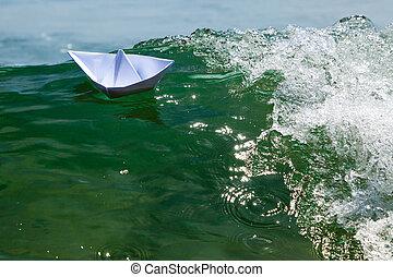 inmenso, espumoso, papel, ondas, luchar, barco