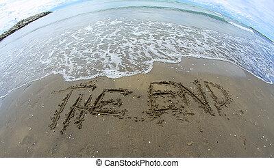 inmenso, fin, lente, playa, fisheye, fotografiado