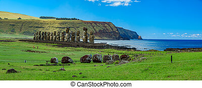 inmenso, island., moai, panorama, ahu, estatuas, pascua,...