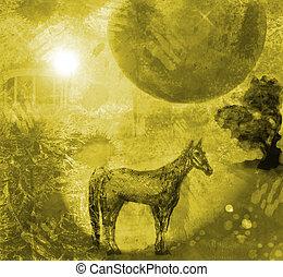 inmenso, luna,  1, noche, caballo