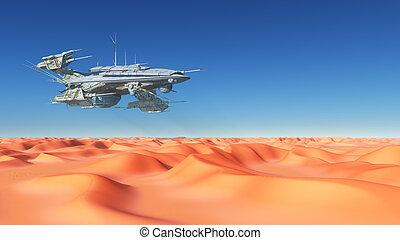 inmenso, nave espacial, encima, un, desierto
