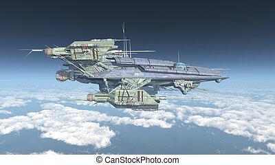 inmenso, nave espacial, nubes, encima