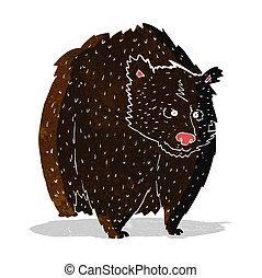 inmenso, negro, caricatura, oso