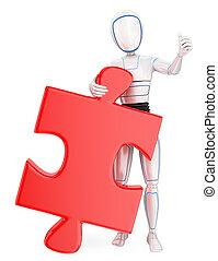 inmenso, rompecabezas, humanoide, robot, piece., solución, 3d