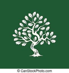 inmenso, silueta, árbol, roble, aislado, fondo., verde,...