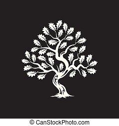 inmenso, silueta, árbol, roble, aislado, oscuridad, fondo.,...