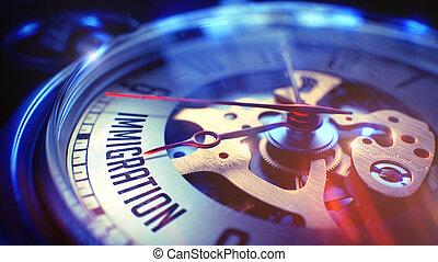 inmigración, -, bolsillo, frase, vendimia, clock., 3d.