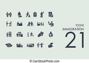 inmigración, iconos, conjunto