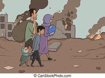 inmigración, immigration., social, niños, vector, familia , ...