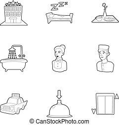 Inn icons set, outline style