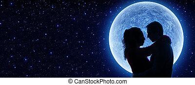 innamorarsi, sotto, luna
