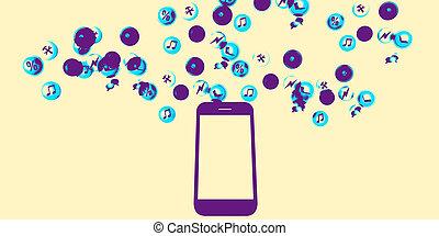 innehåll, fördelning, smartphone