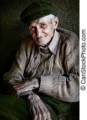 innehåll, uttrycksfull, senior, gammal man