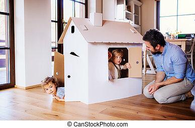 innen, haus, vater, zwei, spielende , papier, kleinkind, home., kinder