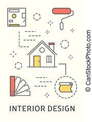 innenarchitektur, illustration.
