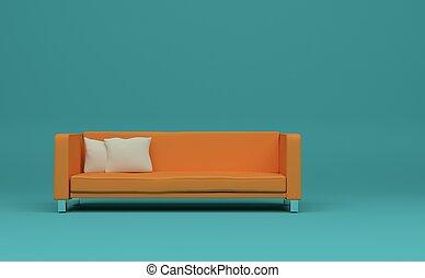 innenarchitektur, modern, hell, zimmer, mit, orange, sofa