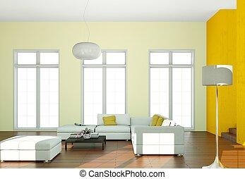 innenarchitektur, modern, hell, zimmer, mit, weißes sofa