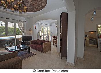 Innenarchitektur, Von, Luxus, Landhaus, Wohnzimmer