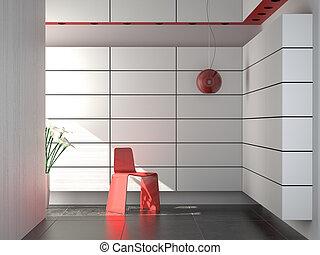 innenarchitektur, von, modern, rotes weiß, und, schwarz, zusammensetzung