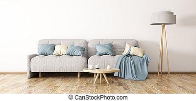 innenarchitektur, von, moderner lebensunterhalt, zimmer, mit, sofa, 3d, übertragung